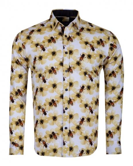 Oscar Banks - Bees Printed Long Sleeved Mens Shirt SL 6715 (1)