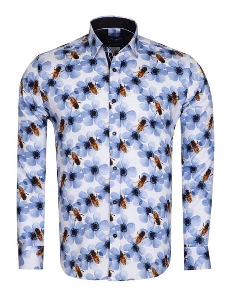 Oscar Banks - Bees Printed Long Sleeved Mens Shirt SL 6715 (Thumbnail - )