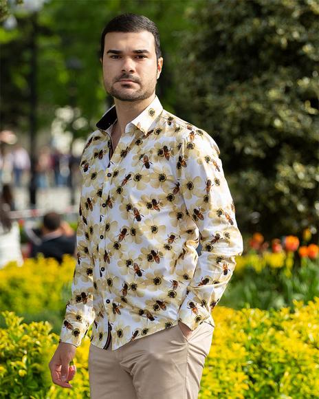 Oscar Banks - Bees Printed Long Sleeved Mens Shirt SL 6715