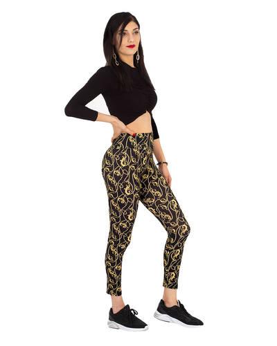 MAKROM - Black and Gold Womens Leggings TY 004