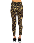 Black and Gold Womens Leggings TY 004 - Thumbnail