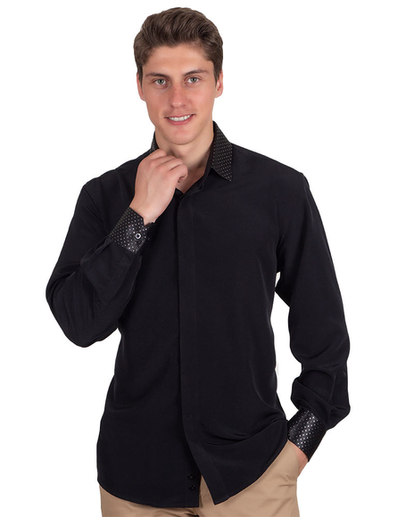 MAKROM - Black Long Sleeved Mens Shirt With Accessories SL 6695