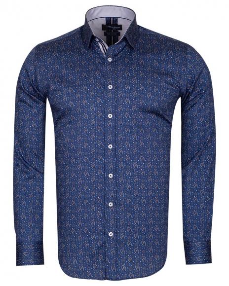 Oscar Banks - Blue and Gold Printed Pure Cotton Mens Shirt SL 6705