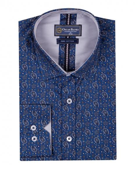 Oscar Banks - Blue and Gold Printed Pure Cotton Mens Shirt SL 6705 (1)