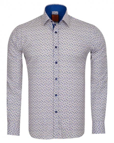 MAKROM - Blue Flowers Printed Long Sleeved Mens Shirt SL 6685