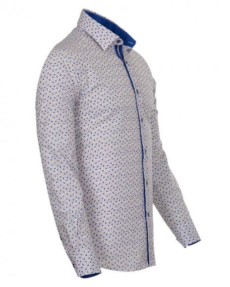 MAKROM - Blue Flowers Printed Long Sleeved Mens Shirt SL 6685 (1)