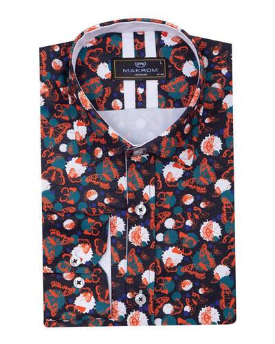 MAKROM - Butterfly Printed Long Sleeved Mens Shirt SL 7086 (Thumbnail - )