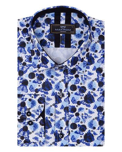 MAKROM - Butterfly Printed Long Sleeved Mens Shirt SL 7086 (1)