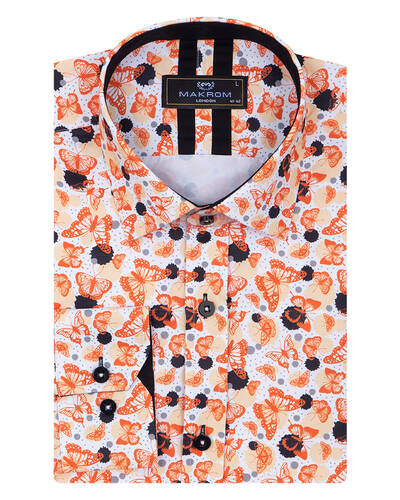 MAKROM - Butterfly Printed Long Sleeved Mens Shirt SL 7086