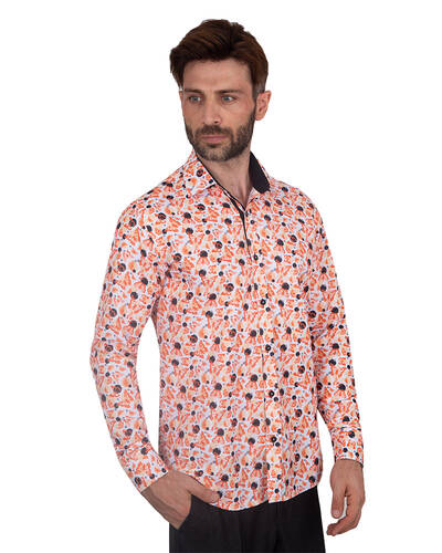 MAKROM - Butterfly Printed Long Sleeved Mens Shirt SL 7086 (Thumbnail - )