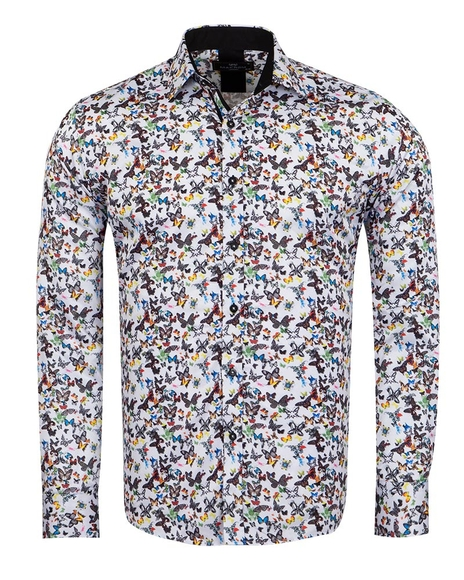 MAKROM - Butterfly Printed Long Sleeved Mens Shirt SL 6964
