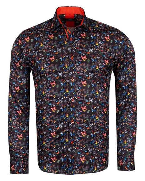 MAKROM - Butterfly Printed Long Sleeved Mens Shirt SL 6964 (Thumbnail - )