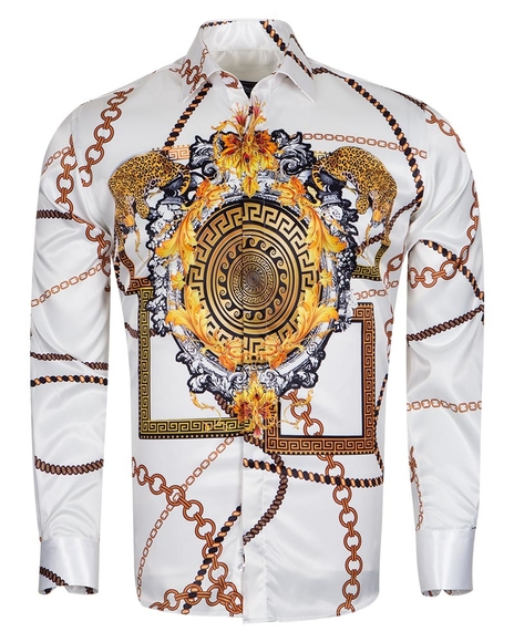 Oscar Banks - Chains Printed Long Sleeved Shirt SL 6750 (Thumbnail - )