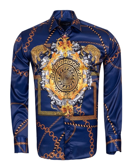 Oscar Banks - Chains Printed Long Sleeved Shirt SL 6750