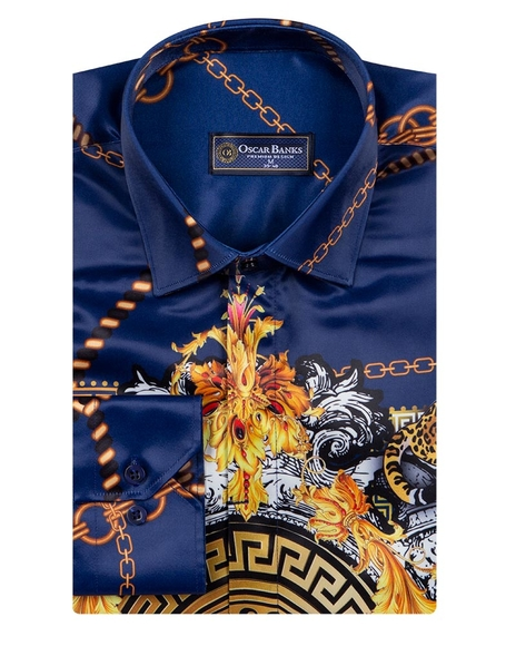 Oscar Banks - Chains Printed Long Sleeved Shirt SL 6750 (1)