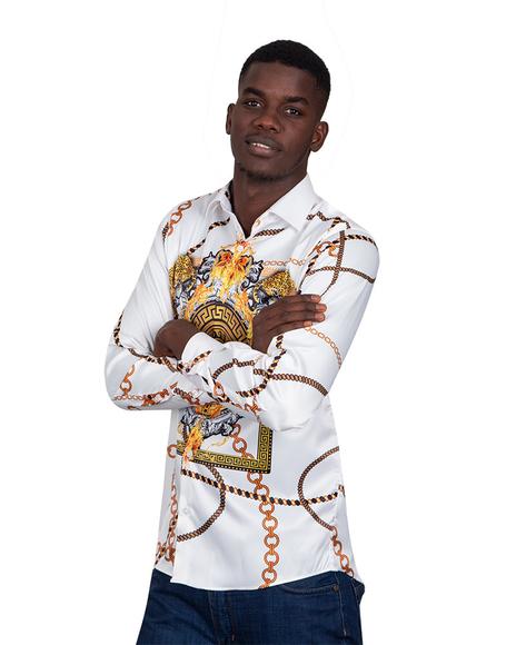 Oscar Banks - Chains Printed Long Sleeved Mens Shirt SL 6750 (Thumbnail - )