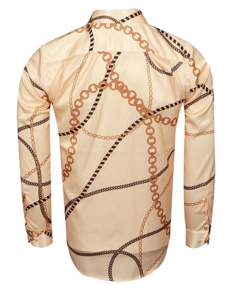 Chains Printed Long Sleeved Mens Shirt SL 6750