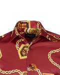 Chains Printed Oscar Banks Satin Mens Shirt SL 6942 - Thumbnail