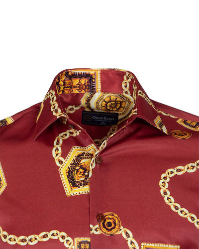 Chains Printed Oscar Banks Satin Mens Shirt SL 6942