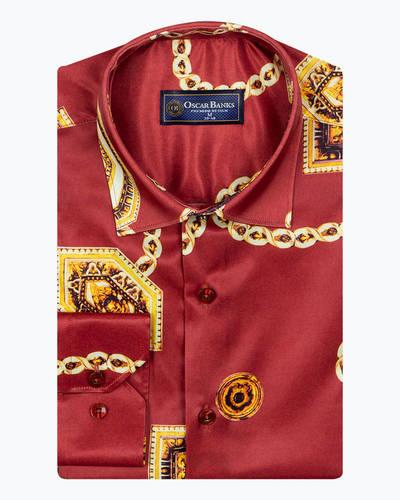 Oscar Banks - Chains Printed Oscar Banks Satin Mens Shirt SL 6942 (1)