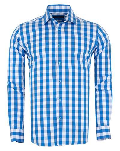 MAKROM - Checkered Long Sleeved Mens Shirt SL 7168 (Thumbnail - )