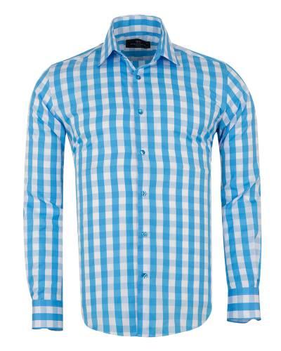 MAKROM - Checkered Long Sleeved Mens Shirt SL 7169