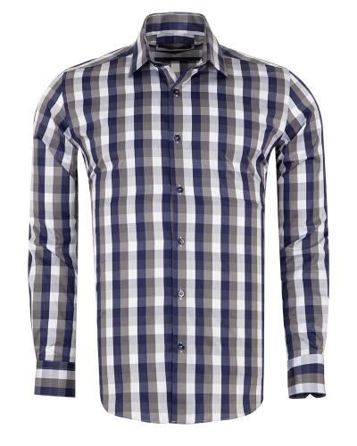 MAKROM - Checkered Long Sleeved Mens Shirt SL 7170 (Thumbnail - )