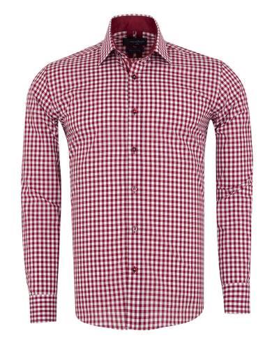 Oscar Banks - Checkered Long Sleeved Mens Shirt SL 7172
