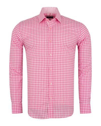 Oscar Banks - Checkered Long Sleeved Mens Shirt SL 7172 (Thumbnail - )