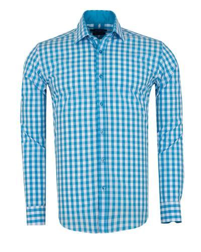 Oscar Banks - Checkered Long Sleeved Mens Shirt SL 7173
