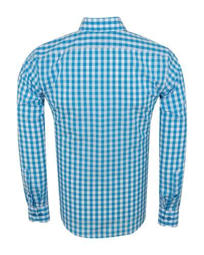 Oscar Banks - Checkered Long Sleeved Mens Shirt SL 7173 (1)