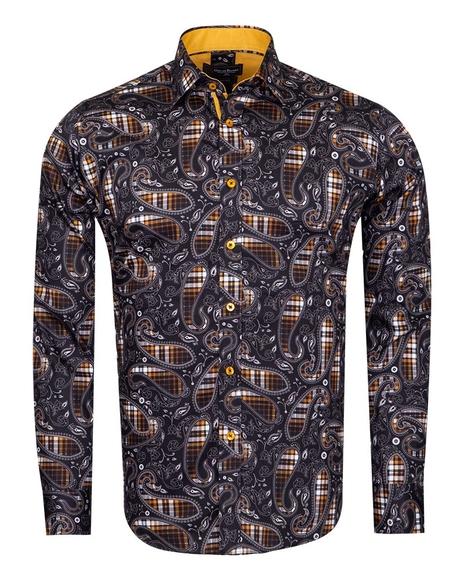 Oscar Banks - Checkhered and Paisley Pure Cotton Shirt SL 6826