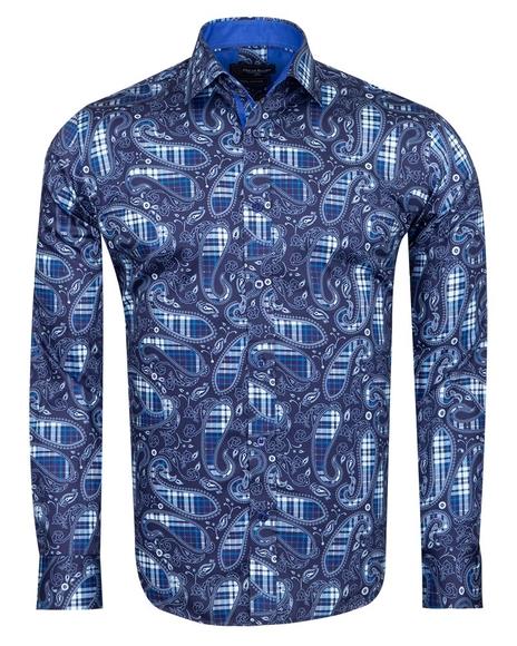 Oscar Banks - Checkhered and Paisley Pure Cotton Shirt SL 6826 (1)