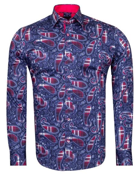 Oscar Banks - Checkhered and Paisley Pure Cotton Shirt SL 6826 (Thumbnail - )
