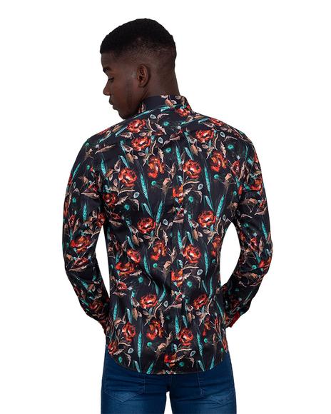 Oscar Banks - Collar Contrast and Cuff Insert Mens Shirt SL 6830 (1)