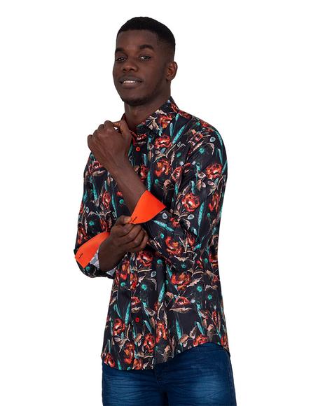 Oscar Banks - Collar Contrast and Cuff Insert Mens Shirt SL 6830