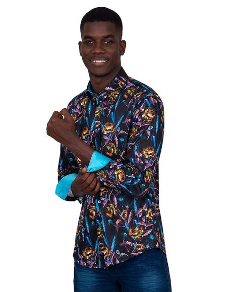 Oscar Banks - Collar Contrast and Cuff Insert Mens Shirt SL 6830 (Thumbnail - )