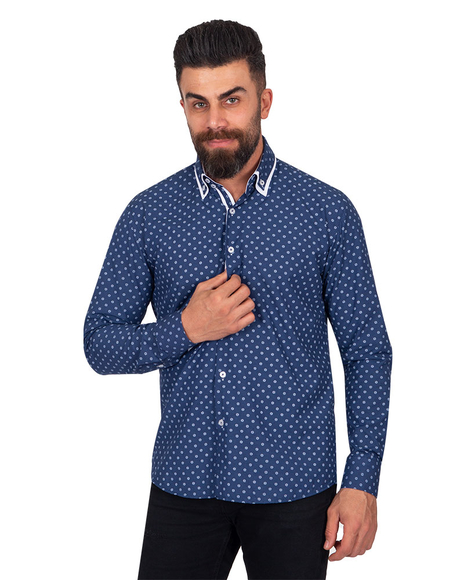 Collar Contrast and Cuff Insert Printed Long Sleeved Double Collar Mens Shirt SL 6817