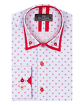 Collar Contrast and Cuff Insert Printed Long Sleeved Double Collar Mens Shirt SL 6817 - Thumbnail