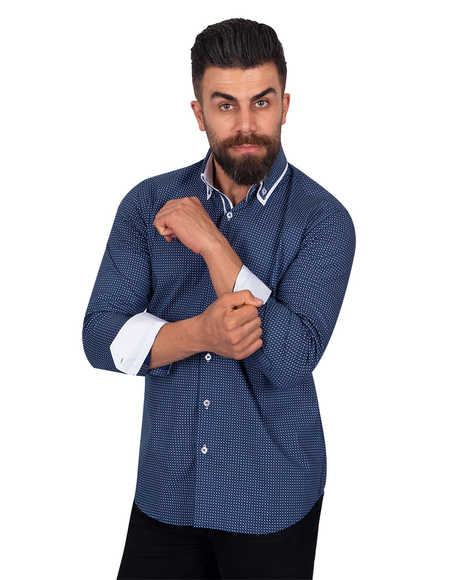 Collar Contrast and Cuff Printed Long Sleeved Mens Double Collar Shirt SL 6818