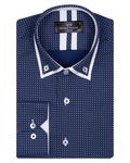 Collar Contrast and Cuff Printed Long Sleeved Mens Double Collar Shirt SL 6818 - Thumbnail