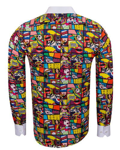 MAKROM - Comics Printed Tuxedo Shirt SL 7031 (1)