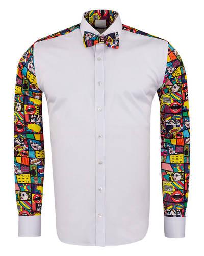 Oscar Banks - Comics Printed Tuxedo Shirt SL 7031