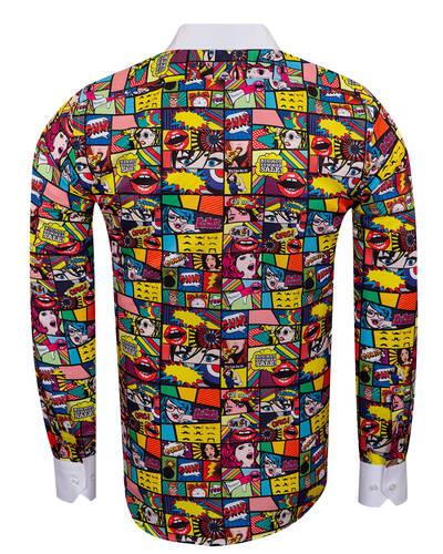 Oscar Banks - Comics Printed Tuxedo Shirt SL 7031 (1)