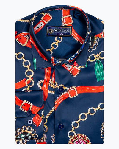 Oscar Banks - Dark Blue Mens Long Sleeved Satin Mens Shirt SL 6939 (1)