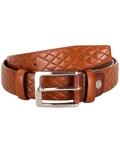 Diamond Pattern Leather Belt B 20 - Thumbnail