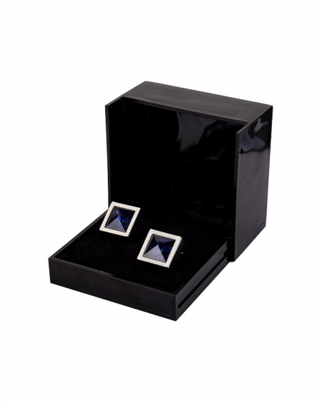 MAKROM - Diamond Shape Blue Enamel Cufflinks C 02 (1)