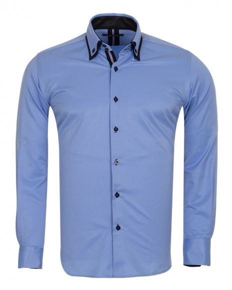 MAKROM - Double Collar Long Sleeved Mens Shirt With Details SL 6650