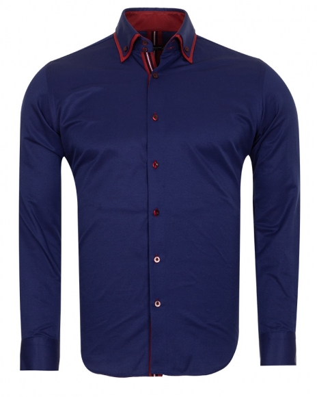 MAKROM - Double Collar Long Sleeved Mens Shirt With Details SL 6650 (Thumbnail - )