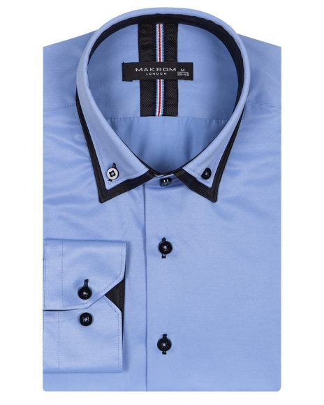 MAKROM - Double Collar Long Sleeved Mens Shirt With Details SL 6650 (1)